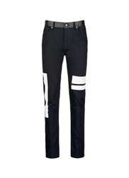 Mcq By Alexander Mcqueen Leather Waist Painted Stripe Print Strummer Jeans Black