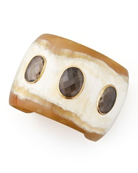 Ashley Pittman Rangi Smoky Quartz Cuff Light Horn