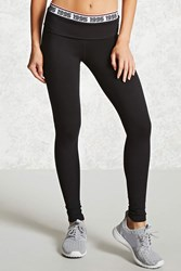 Forever 21 Active 1995 Foldover Leggings Black Neon Coral