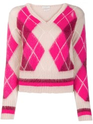 Ballantyne Argyle Knit Jumper Pink