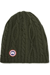 Canada Goose Cable Knit Merino Wool Beanie Army Green