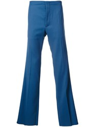 Valentino Loose Fit Trousers Polyester Virgin Wool Blue