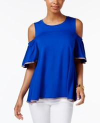 Cable And Gauge Cupio By Cold Shoulder Top Cobalt
