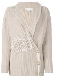 Stella Mccartney Frayed Panel Cardigan Nude And Neutrals