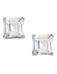 Lord And Taylor Platinum Plated Ascher Cut Stud Earrings Cubic Zirc