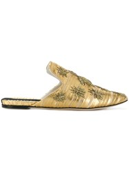 Sanayi 313 Embroidered Bug Patch Mules Metallic