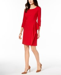 Charter Club Petite Side Flounce Shift Dress Created For Macy's New Red Amore