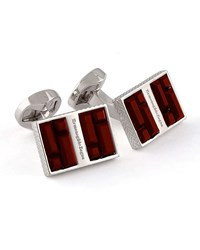 Ermenegildo Zegna Rectangular Cuff Links W Crystal Baguettes Dark Burgundy Dark Red