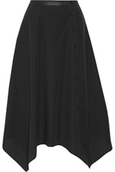 Christophe Lemaire Asymmetric Cotton Poplin Midi Skirt Black
