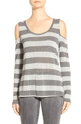 Petite Women's Matty M Cold Shoulder Tee Charcoal Heather Grey Stripe