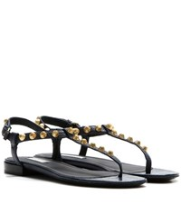 Balenciaga Giant Stud Leather Sandals Blue
