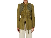 Dries Van Noten Women's Belize Embellished Dupioni Jacket Dark Green Green