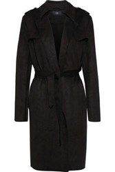 Line Margaux Faux Suede Trench Coat Black