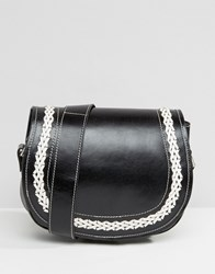 Park Lane Leather Cross Body Bag With Contrast Stitching Black