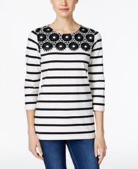 Charter Club Striped Crochet Trim Top Only At Macy's Cloud Combo