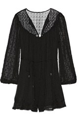 Zimmermann Belle Lace Paneled Embroidered Silk Voile Playsuit Black