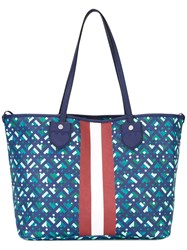 Bally Printed Canvas Tote Blue