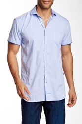 English Laundry Short Sleeve Solid Woven Shirt Blue