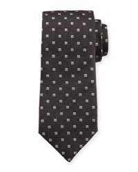 Isaia Neat Square Silk Tie Charcoal