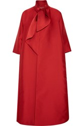 Merchant Archive Oversized Pussy Bow Duchesse Satin Coat Red Usd