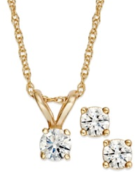 Macy's Round Cut Diamond Pendant Necklace And Earrings Set In 10K Gold 1 4 Ct. T.W.
