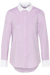 10 Crosby By Derek Lam Two Tone Cotton Shirt Purple