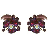 Eclectica Vintage 1950S Leaf Rhinestone Clip On Earrings Purple