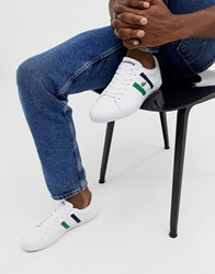 Lacoste Lerond Trainers With Side Stripe In White Leather