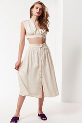 Urban Outfitters Uo Arianna Button Down Midi Skirt White