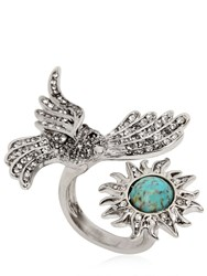 Roberto Cavalli Swarovski Bird And Sun Brass Ring
