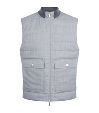 Brunello Cucinelli Two Pocket Wool Gillet Male Grey