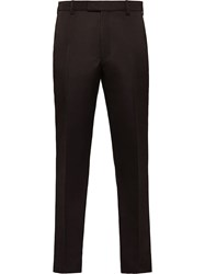 Prada Double Satin Tailored Trousers Brown