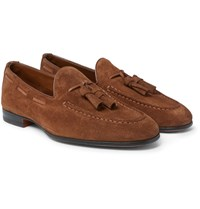Santoni Suede Tasselled Loafers Tan