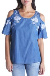 Kut From The Kloth Embroidered Cold Shoulder Top Blue