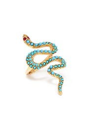 Kenneth Jay Lane Embellished Snake Ring Multi Colour