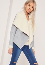 Missguided Faux Shearling Waterfall Jacket Grey Grey
