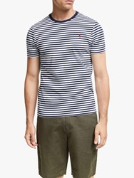 Ralph Lauren Polo Stripe Crew Neck T Shirt Nevis Newport Navy Red