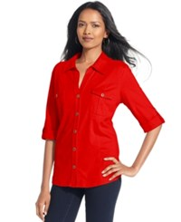 Styleandco. Style And Co. Petite Top Roll Tab Jersey Button Down Shirt New Red Amore