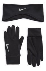 Men's Nike Thermal Headband And Glove Set Black Black Silver