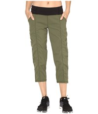 Lucy Get Going Capri Rich Olive Women's Workout Metallic