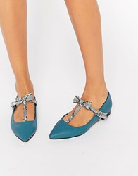 Asos Logan Pointed Ballet Flats Teal Blue