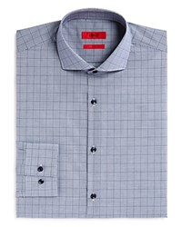 Hugo Jason Micro Gingham Tonal Overcheck Slim Fit Dress Shirt Navy