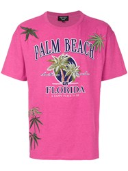 Creatures Of The Wind Palm Beach Print T Shirt Cotton Pink Purple