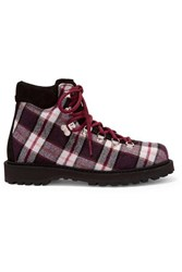 Diemme Roccia Vet Suede Trimmed Plaid Felt Ankle Boots Brown