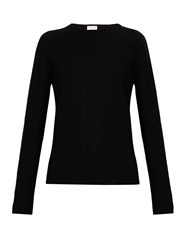 Saint Laurent Distressed Wool And Cashmere Blend Sweater Black