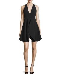 Halston Sleeveless Flounce Skirt Party Dress Black