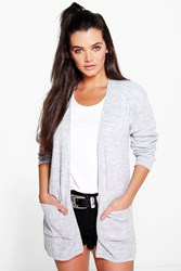 Boohoo Slouchy Boyfriend Cardigan With Pockets Grey