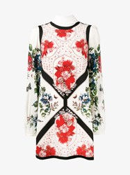 Alexander Mcqueen Floral Print Mini Dress Nude And Neutrals