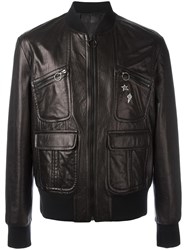 Neil Barrett Pins Leather Bomber Jacket Black