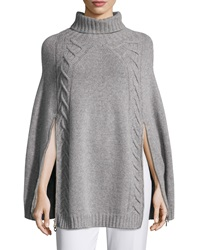 Agnona Double Zip Knit Poncho Gray